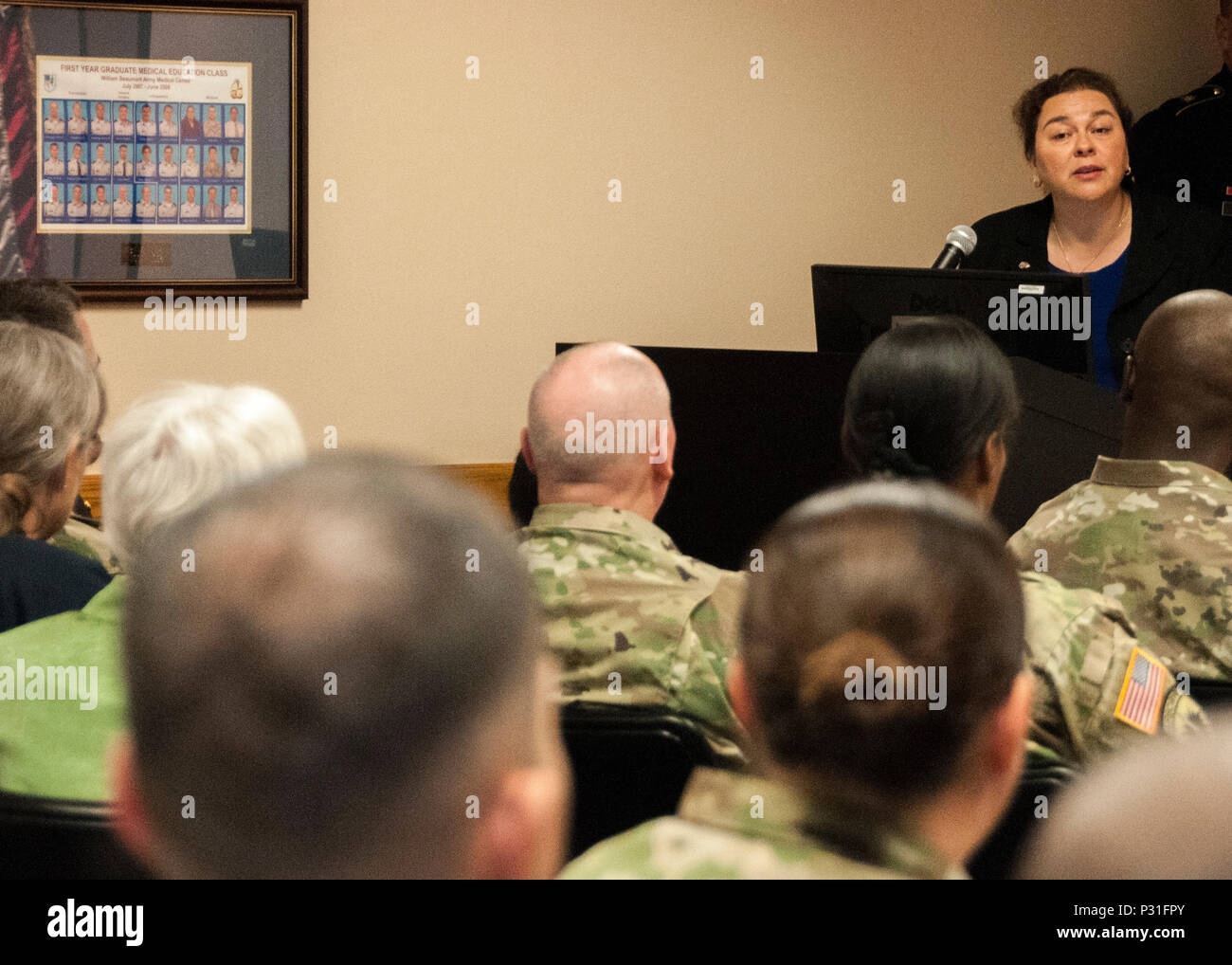 Dr. Guillermina Núñez-Mchiri, associate professor of Anthropology and interim director of Women and Gender Studies, The University of Texas at El Paso, speaks to Soldiers and civilians at William Beaumont Army Medical Center during the annual Women's Equality Day Observance at WBAMC, Aug. 18. - Stock Image
