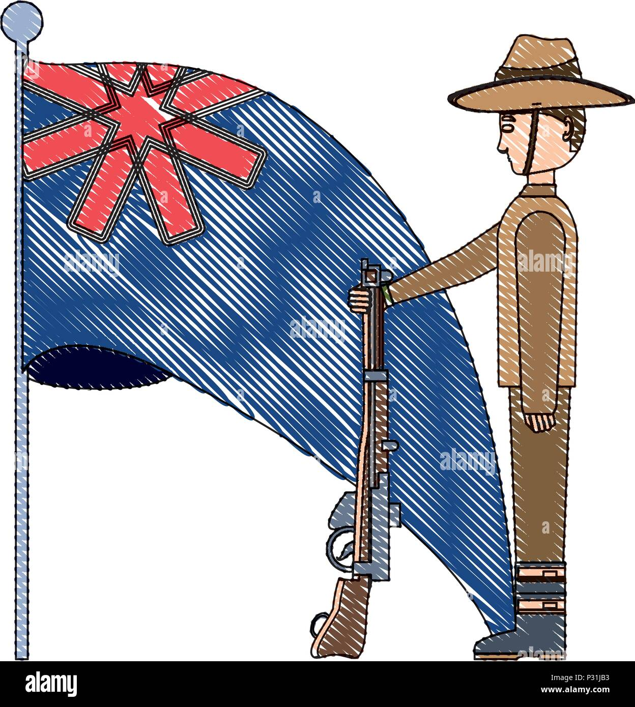 Anzac Day Design With Australian Flag And Soldier Standing Guard Over White Background Vector Illustration Stock Vector Image Art Alamy
