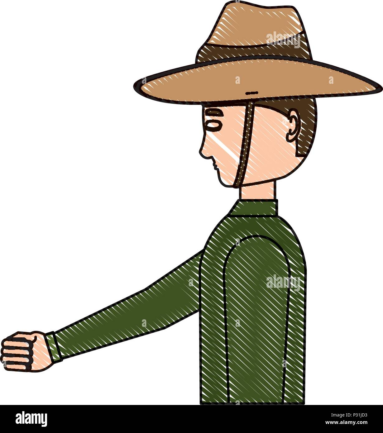 Anzac soldier standing over white background, vector illustration - Stock Image
