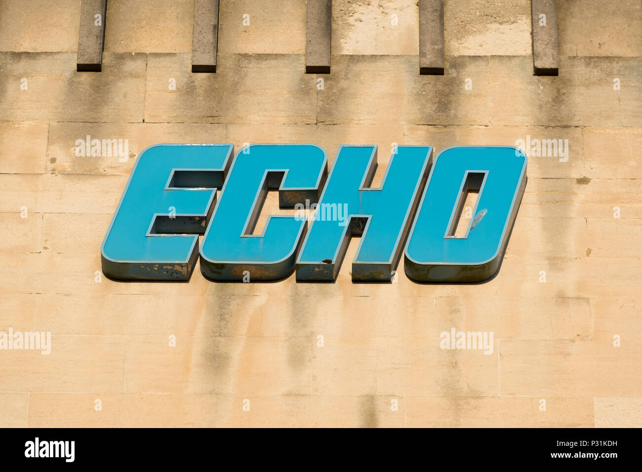 Signage on the building of the Daily Echo newspaper in Bournemouth. - Stock Image