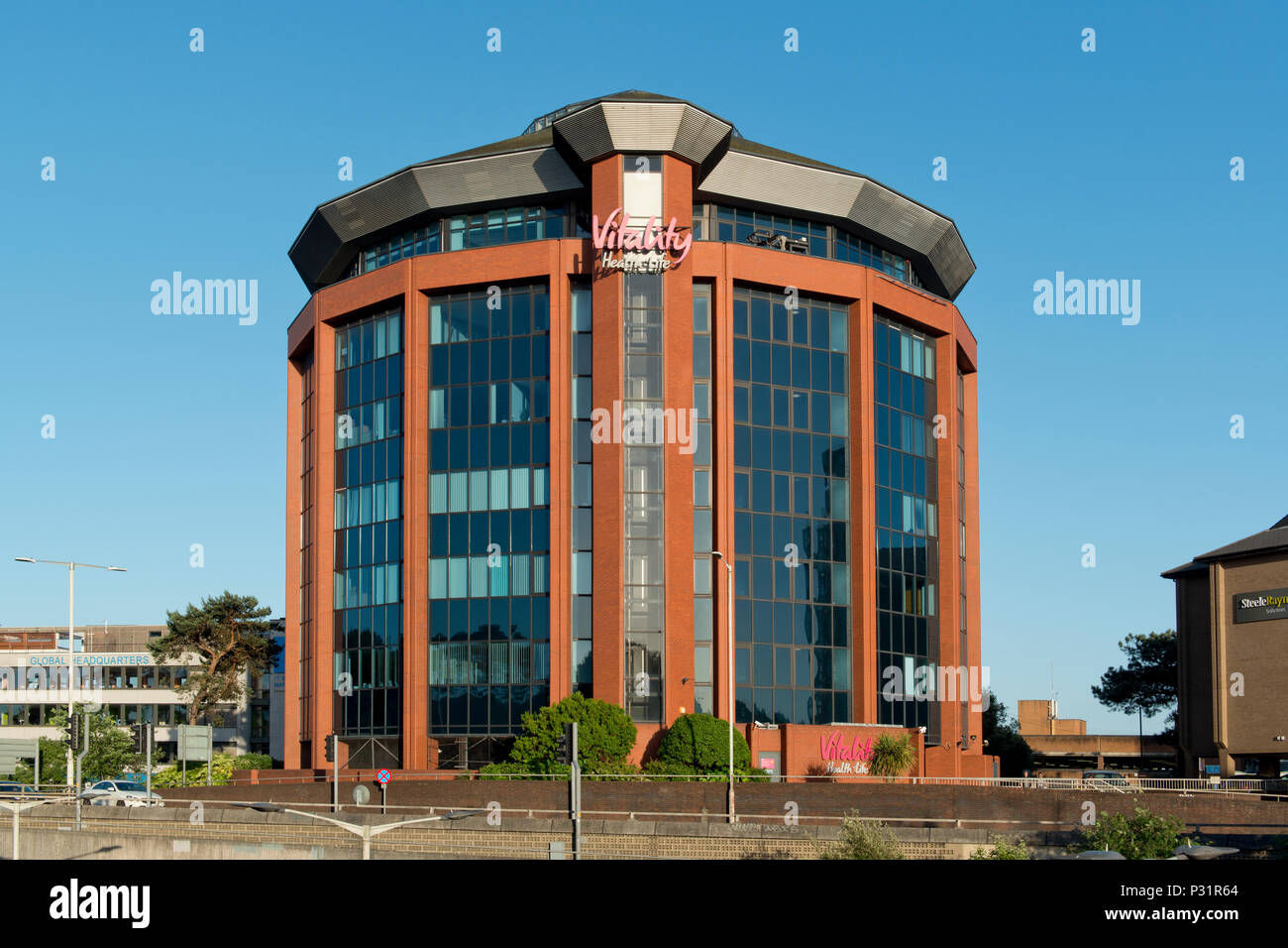 Signage for the Vitality health insurance company outside the company's building in Bournemouth. - Stock Image