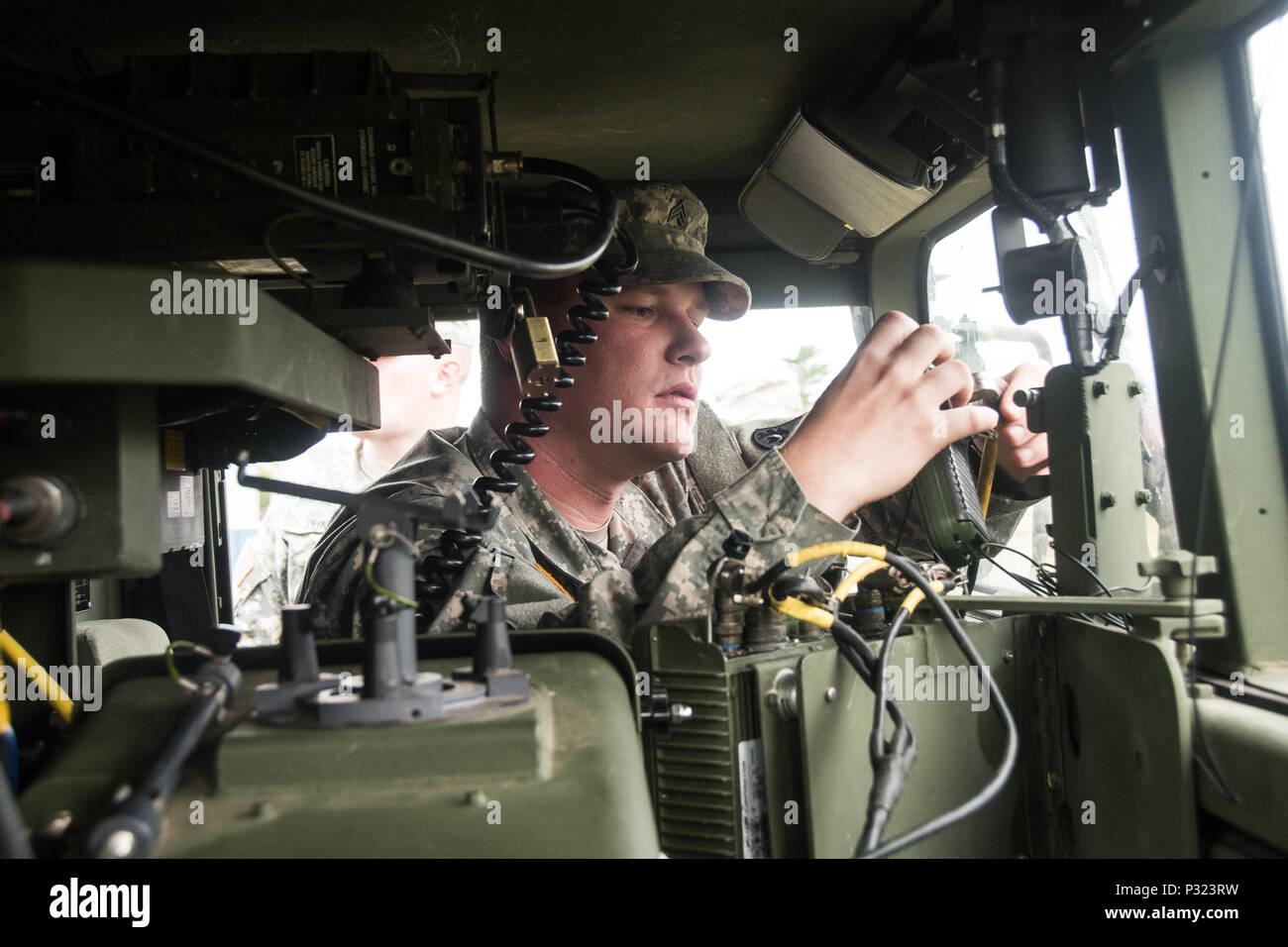 A member of South Carolina Army National Guard's 263rd Army Air and Missile Defense Command prepares his Avenger Air Defense System during the Vigilant Shield Air Defence Artillery Field Training Exercise at 22 Wing North Bay on August 14, 2016. (Canadian Armed Forces photo by Cpl. Joseph Morin) Stock Photo
