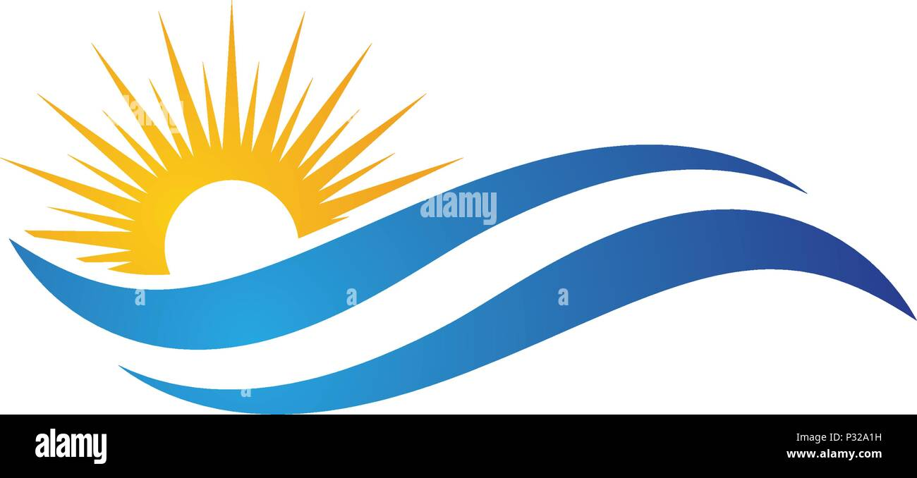 sun with water wave icon vector illustration design logo template