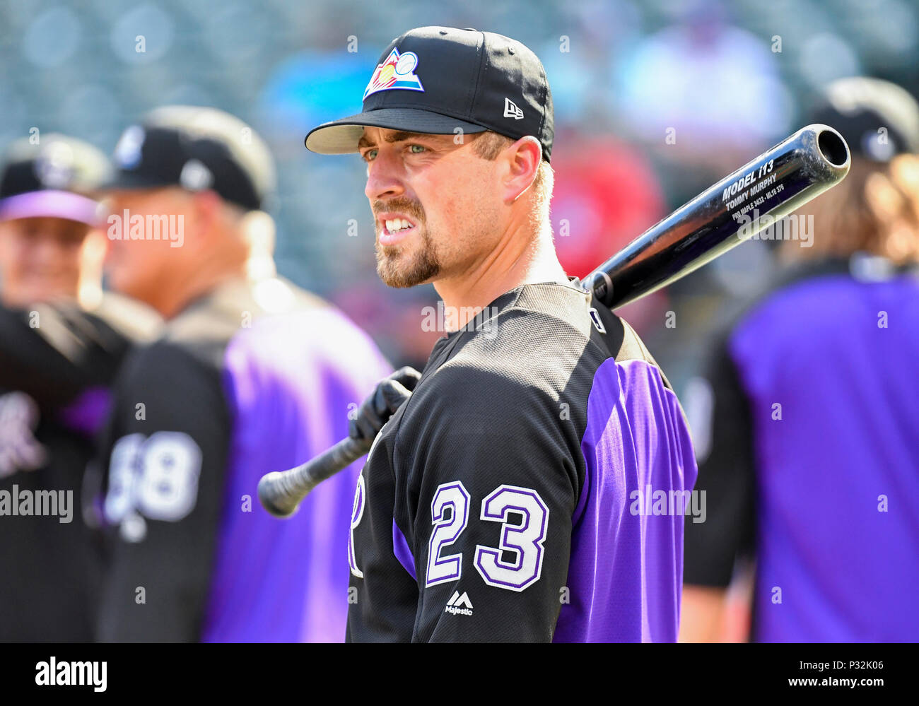 86c1b850e Jun 15, 2018: Colorado Rockies catcher Tom Murphy #23 during batting  practice before an MLB game between the Colorado Rockies and the Texas  Rangers at Globe ...