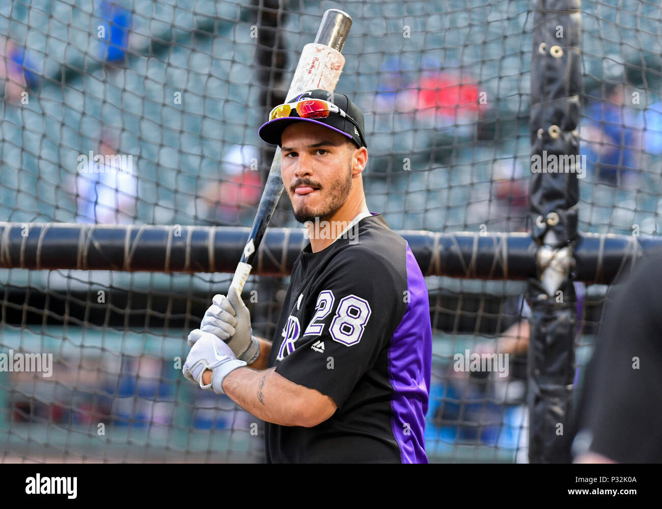 6292e8d73 Jun 15, 2018: Colorado Rockies third baseman Nolan Arenado #28 during batting  practice before an MLB game between the Colorado Rockies and the Texas  Rangers ...