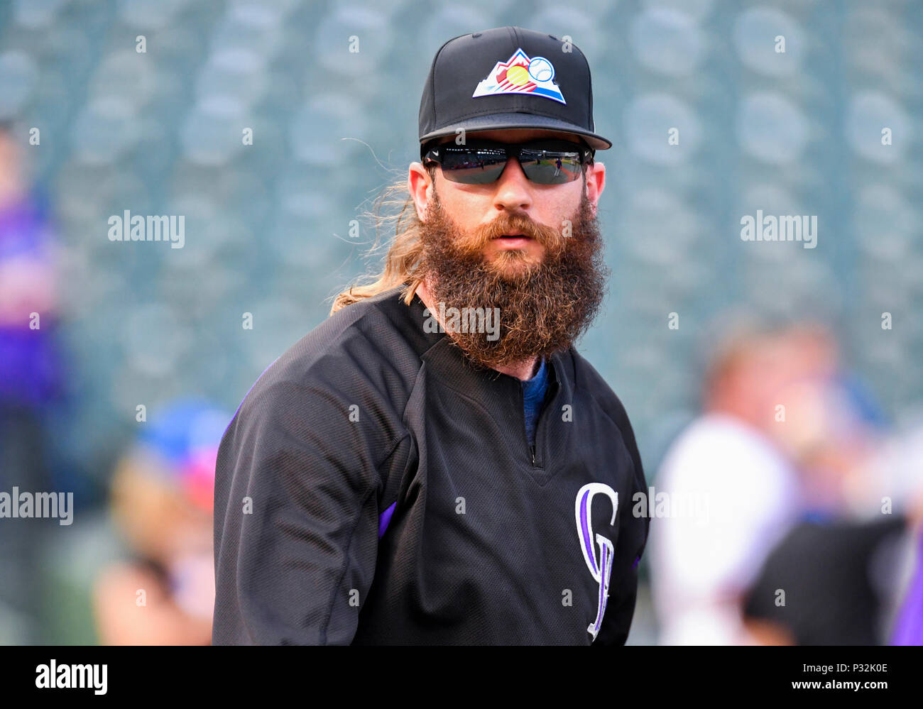 1e3f1eef9 Jun 15, 2018: Colorado Rockies center fielder Charlie Blackmon #19 during batting  practice before an MLB game between the Colorado Rockies and the Texas ...