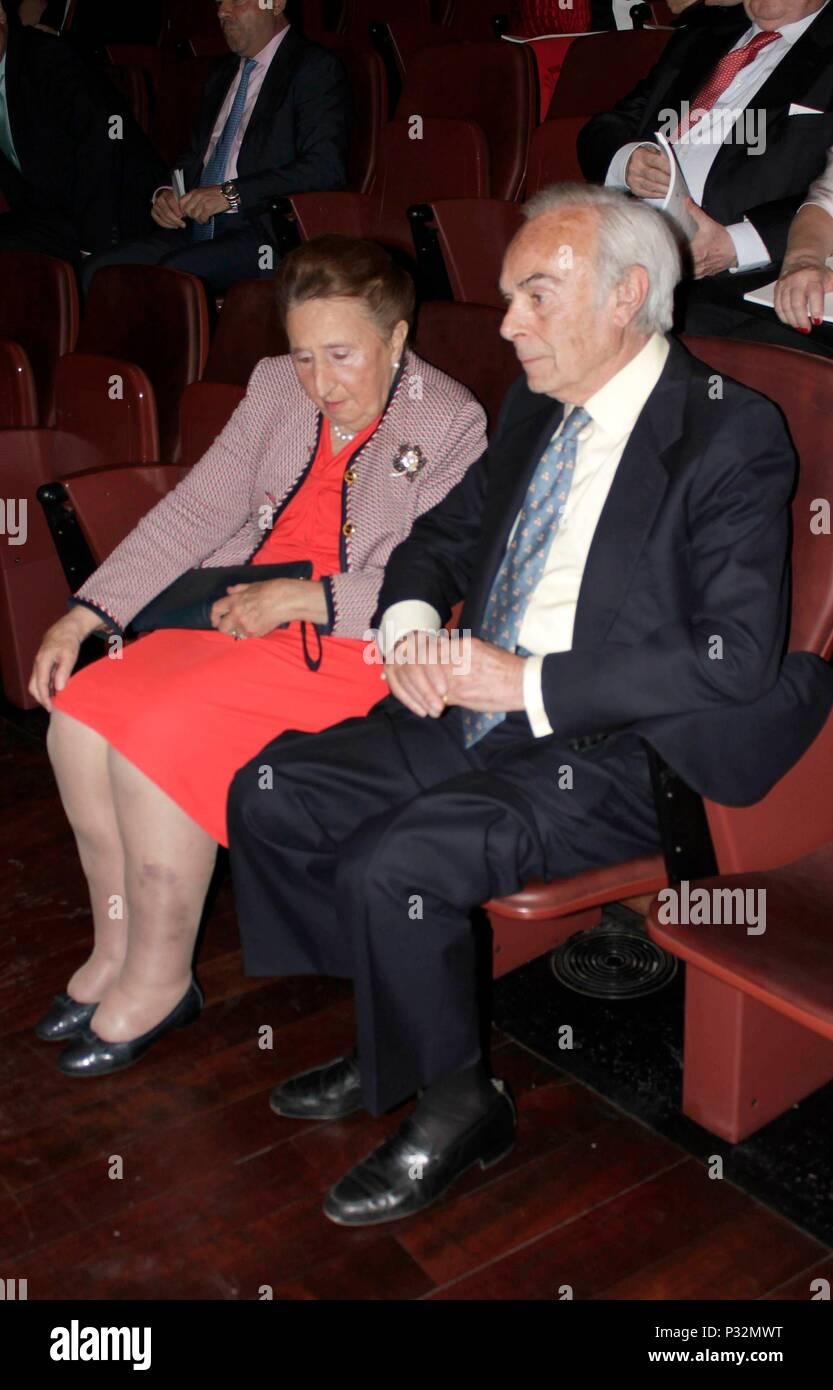 "Margarita de Borbon and husband Carlos Zurita during closing ceremony of academic year "" Escuela Superior de Musica Reina Sofia "" in Madrid on Friday, 15 June 2018 - Stock Image"