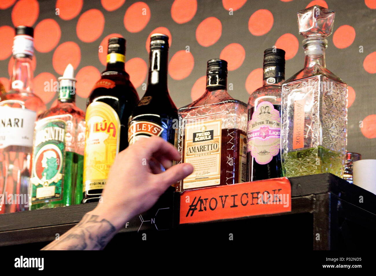Volgograd, Russia. 16th June, 2018. VOLGOGRAD, RUSSIA - JUNE 16, 2018: Novichok, an alcoholic cocktail offered in the Gryadushka bar in Volgograd, Russia, and titled by analogy with the Novichok-7 military nerve agent. Dmitry Rogulin/TASS Credit: ITAR-TASS News Agency/Alamy Live News - Stock Image