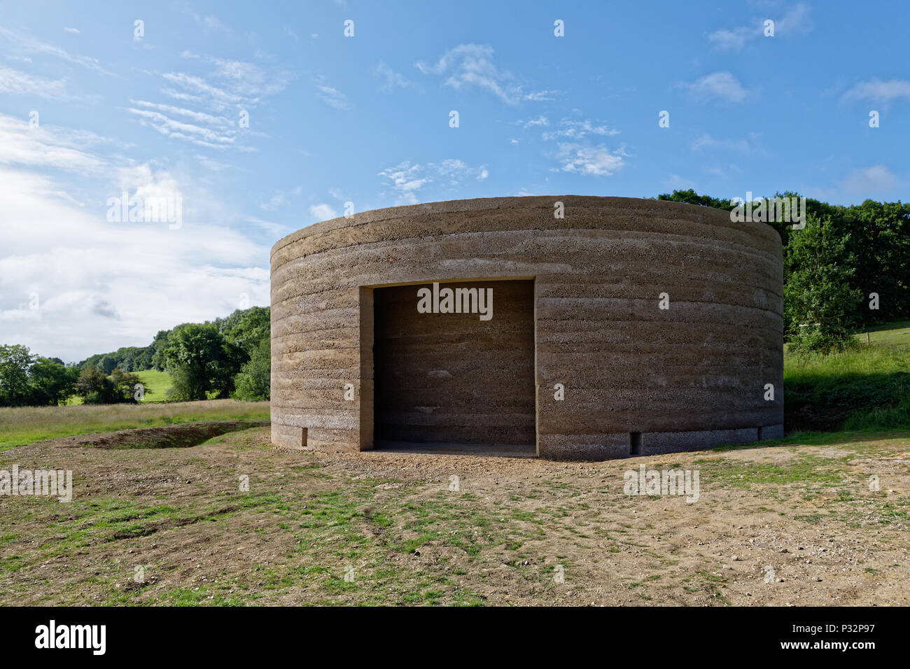 Sunday 17th June 2018. Runnymede Meadows, Surrey, England.'Writ In Water' designed by artist Mark Wallinger to 'reflect upon the founding principles of democracy'. Created in collaboration with Studio Octopi it opened to the public yesterday on16th June & sits on public 'land held in common' at Runnymede by the National Trust. Credit: wyrdlight/Alamy Live News - Stock Image