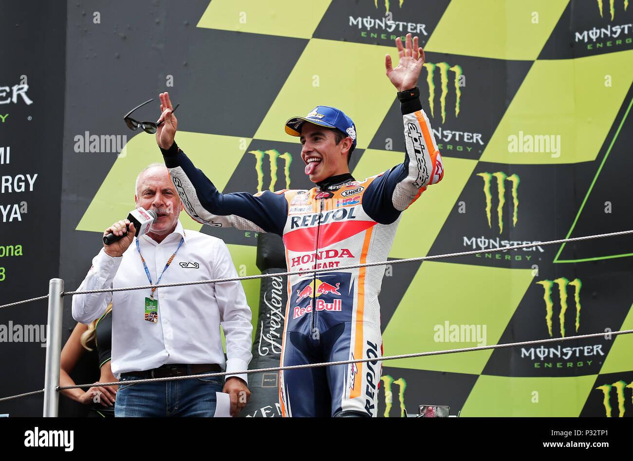 Barcelona -17th June 2018- SPAIN: Marc Marquez (Honda) in the podium of the  the GP Catalunya Moto GP, in the Barcelona-Catalunya Circuit, on 17th June 2018. Photo: Joan Valls/Urbanandsport/Cordon Press - Stock Image