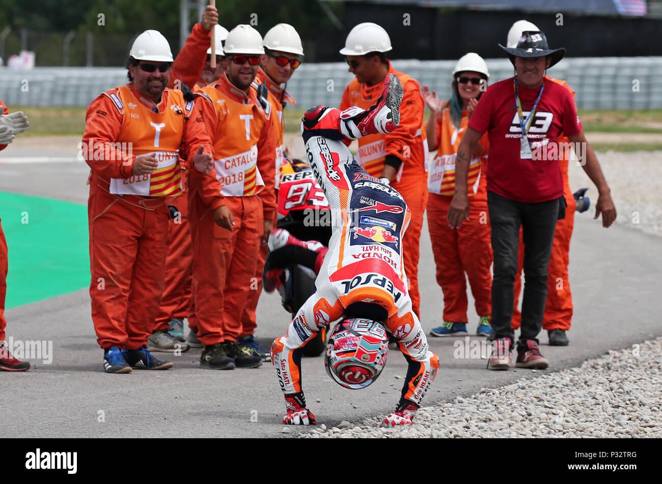 Barcelona -17th June 2018- SPAIN: Marc Marquez (Honda) at the end of the  the GP Catalunya Moto GP, in the Barcelona-Catalunya Circuit, on 17th June 2018. Photo: Joan Valls/Urbanandsport/Cordon Press - Stock Image