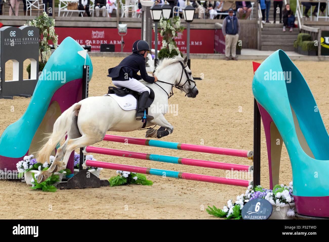 Jack Hewitt Bolesworth, Cheshire. 17/06/2018. Childens show jumping race in the Invitational Mini Major Relay. Horse, fence, equestrian, animal, sport, competition, jump, equine, rider, show, obstacle, hurdle, horseback, event, stallion, champion, jumping, jockey, riding, equitation, horseman. Credit MediaWorldImages/AlamyLiveNews. - Stock Image