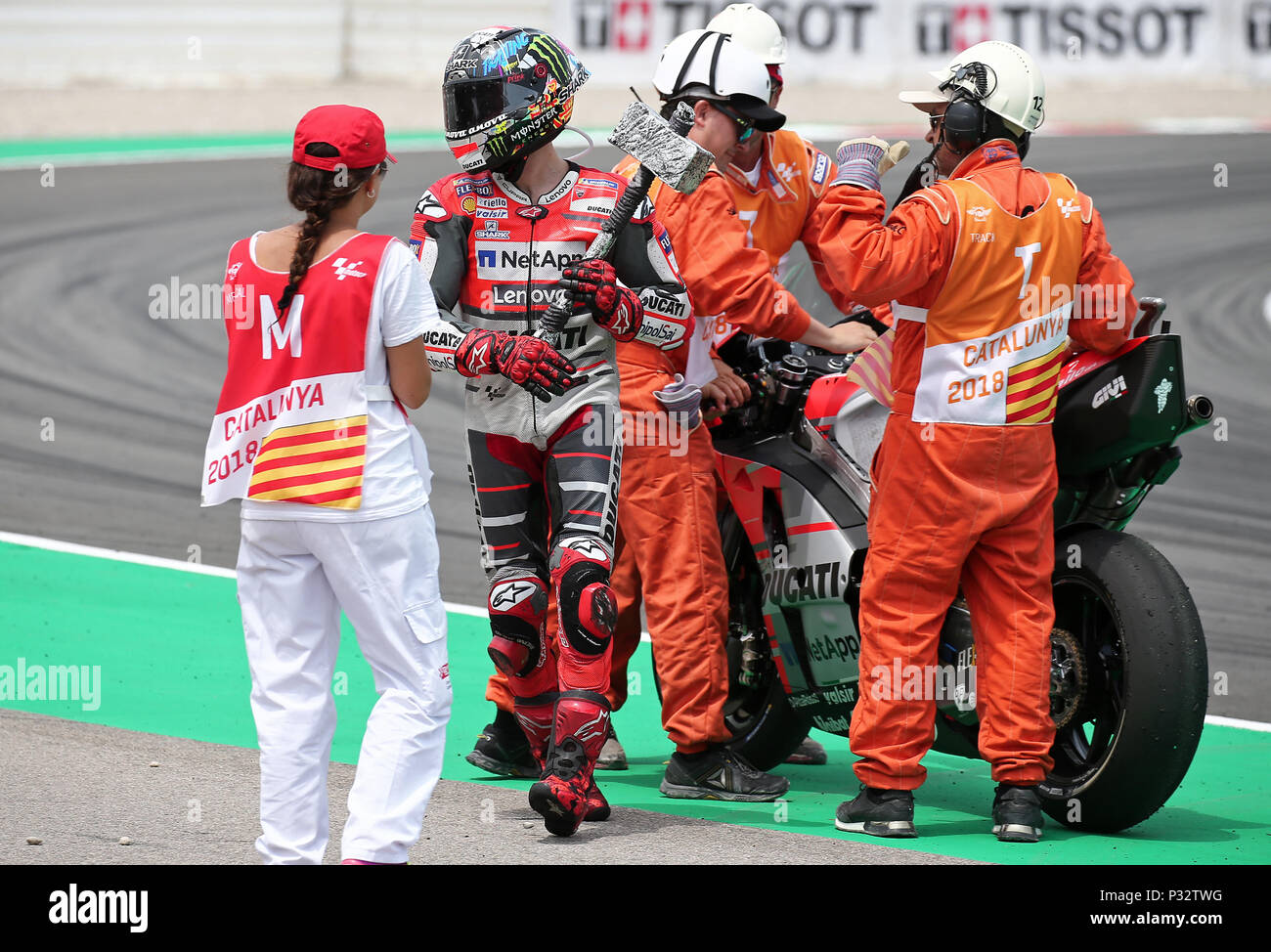 Barcelona -17th June 2018- SPAIN: Jorge Lorenzo (Ducati) winner of the  the GP Catalunya Moto GP, in the Barcelona-Catalunya Circuit, on 17th June 2018. Photo: Joan Valls/Urbanandsport/Cordon Press - Stock Image