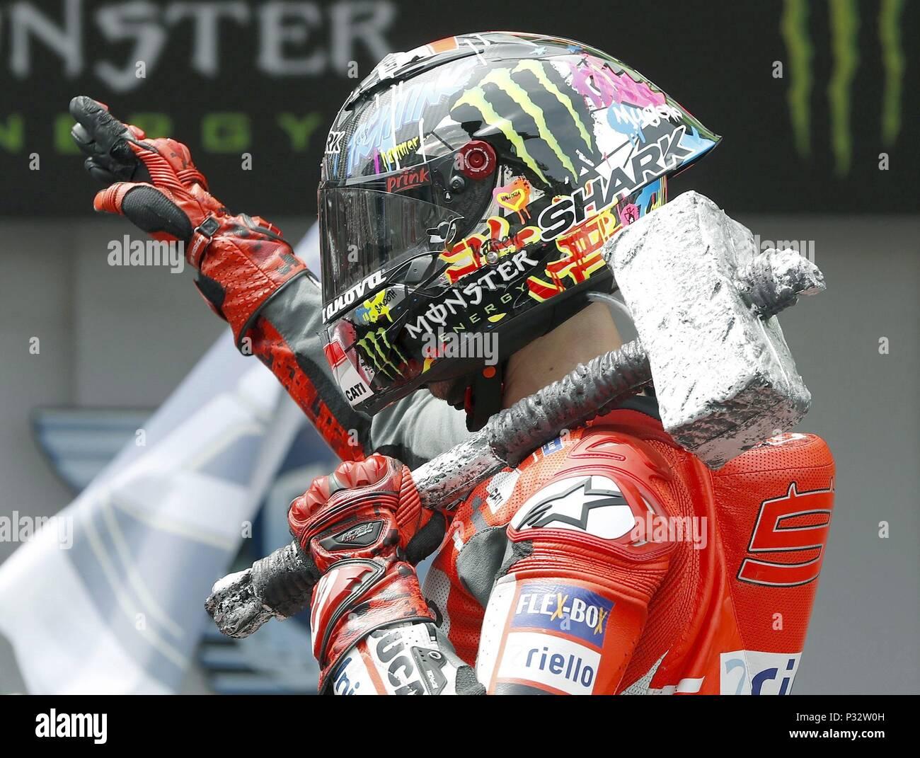 Barcelona Spain 17 June 2018 Spanish Motogp Rider Jorge Lorenzo