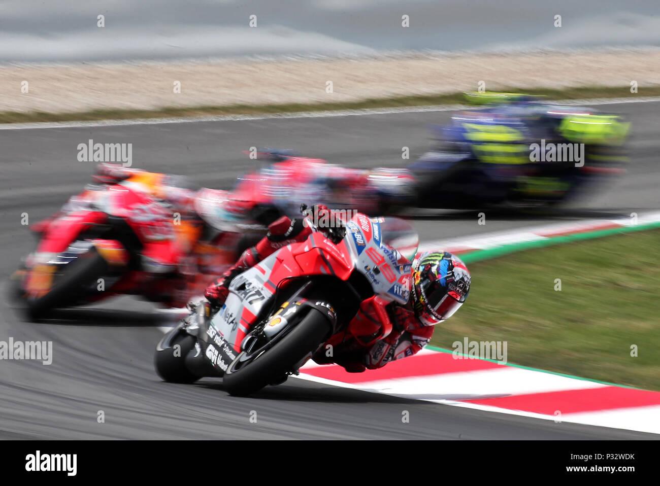 Barcelona -17th June 2018- SPAIN: Jorge Lorenzo (Ducati) during  the GP Catalunya Moto GP, in the Barcelona-Catalunya Circuit, on 17th June 2018. Photo: Joan Valls/Urbanandsport/Cordon Press - Stock Image