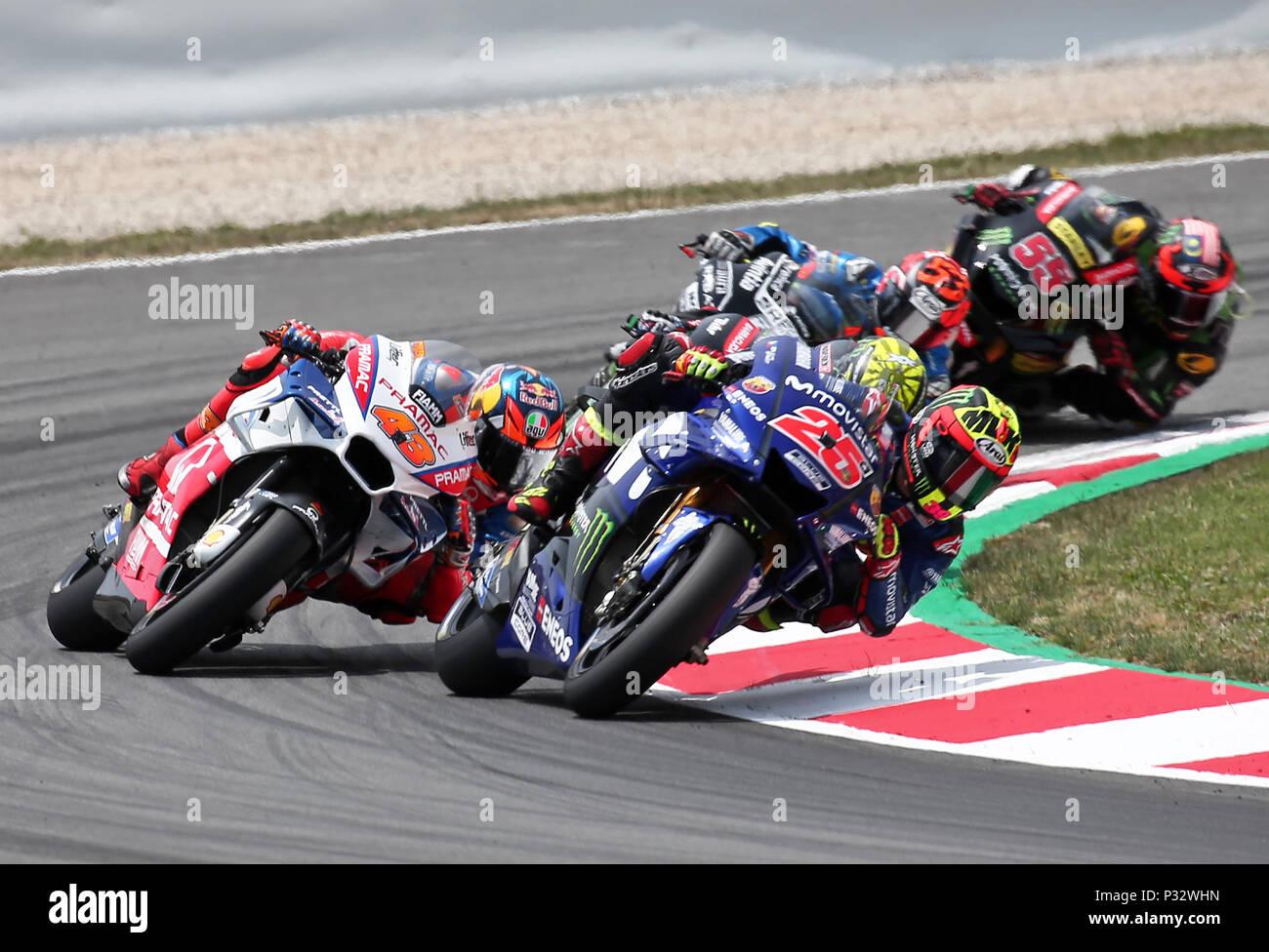 Barcelona -17th June 2018- SPAIN: Maverick Vinales (Movistar Yamaha) during  the GP Catalunya Moto GP, in the Barcelona-Catalunya Circuit, on 17th June 2018. Photo: Joan Valls/Urbanandsport/Cordon Press - Stock Image