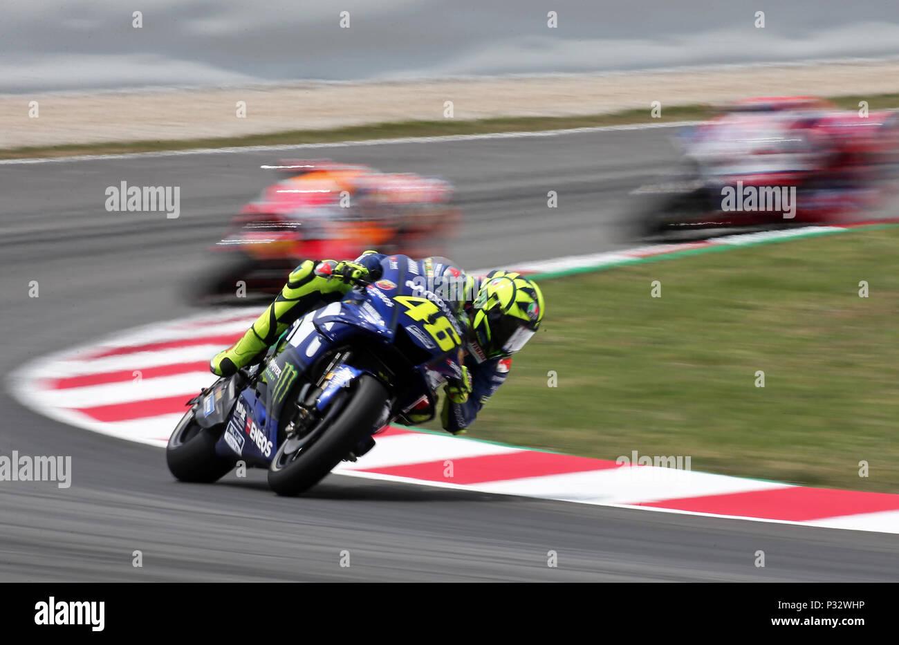 Barcelona -17th June 2018- SPAIN: Valentino Rossi (Yamaha) during  the GP Catalunya Moto GP, in the Barcelona-Catalunya Circuit, on 17th June 2018. Photo: Joan Valls/Urbanandsport/Cordon Press - Stock Image