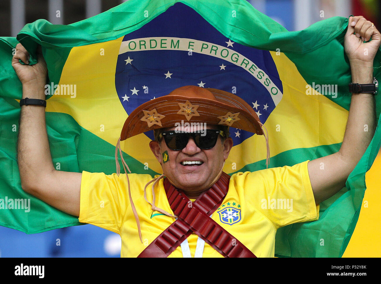 Rostov Do Don, Russia, 17 June 2018.  Brazil fan before the match between Brazil and Switzerland valid for the 2018 World Cup held at the Rostov Arena in Rostov-on-Don, Russia. (Photo: Rodolfo Buhrer/La Imagem/Fotoarena) Credit: Foto Arena LTDA/Alamy Live News Credit: Foto Arena LTDA/Alamy Live News Stock Photo
