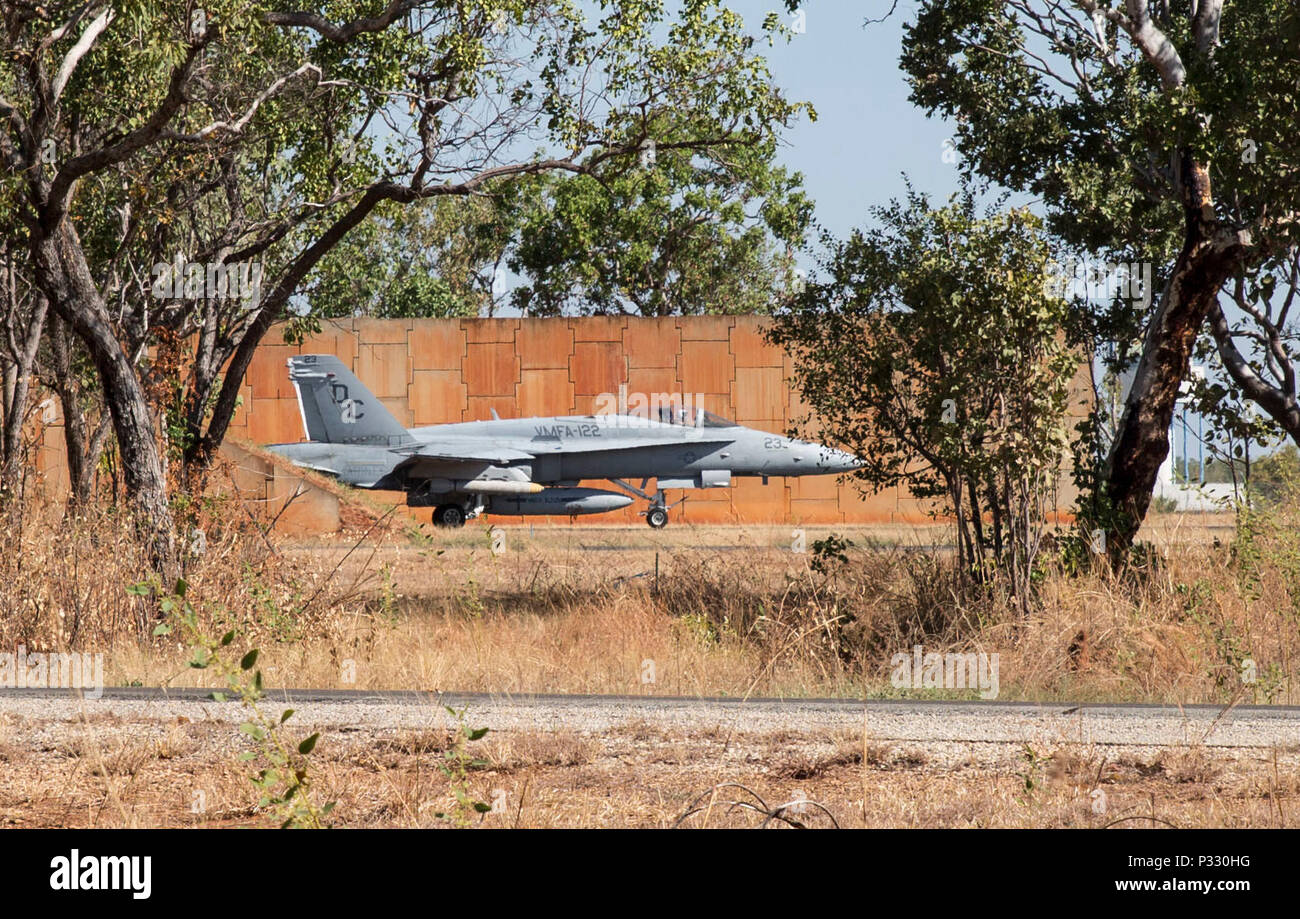 An F/A-18C Hornet with Marine Fighter Attack Squadron (VMFA) 122 prepares to taxi during Southern Frontier at Royal Australian Air Force Base Tindal, Australia, Aug. 24, 2016. VMFA-122 conducted close air support missions in support of units on the ground at Bradshaw Range Complex during the unit level training. Southern Frontier is a three week training evolution geared toward helping the flying squadron gain qualifications and experience in low altitude, air ground, high explosive ordnance delivery. (U.S. Marine Corps photo by Cpl. Nicole Zurbrugg) - Stock Image