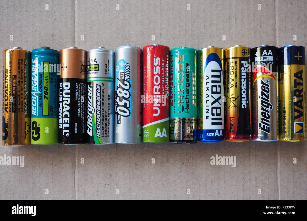 BERLIN, GERMANY - CIRCA MAY 2018: AA batteries of many different brands including GP Duracell Energizer Ansmann Uniross Maxell Panasonic Varta Stock Photo