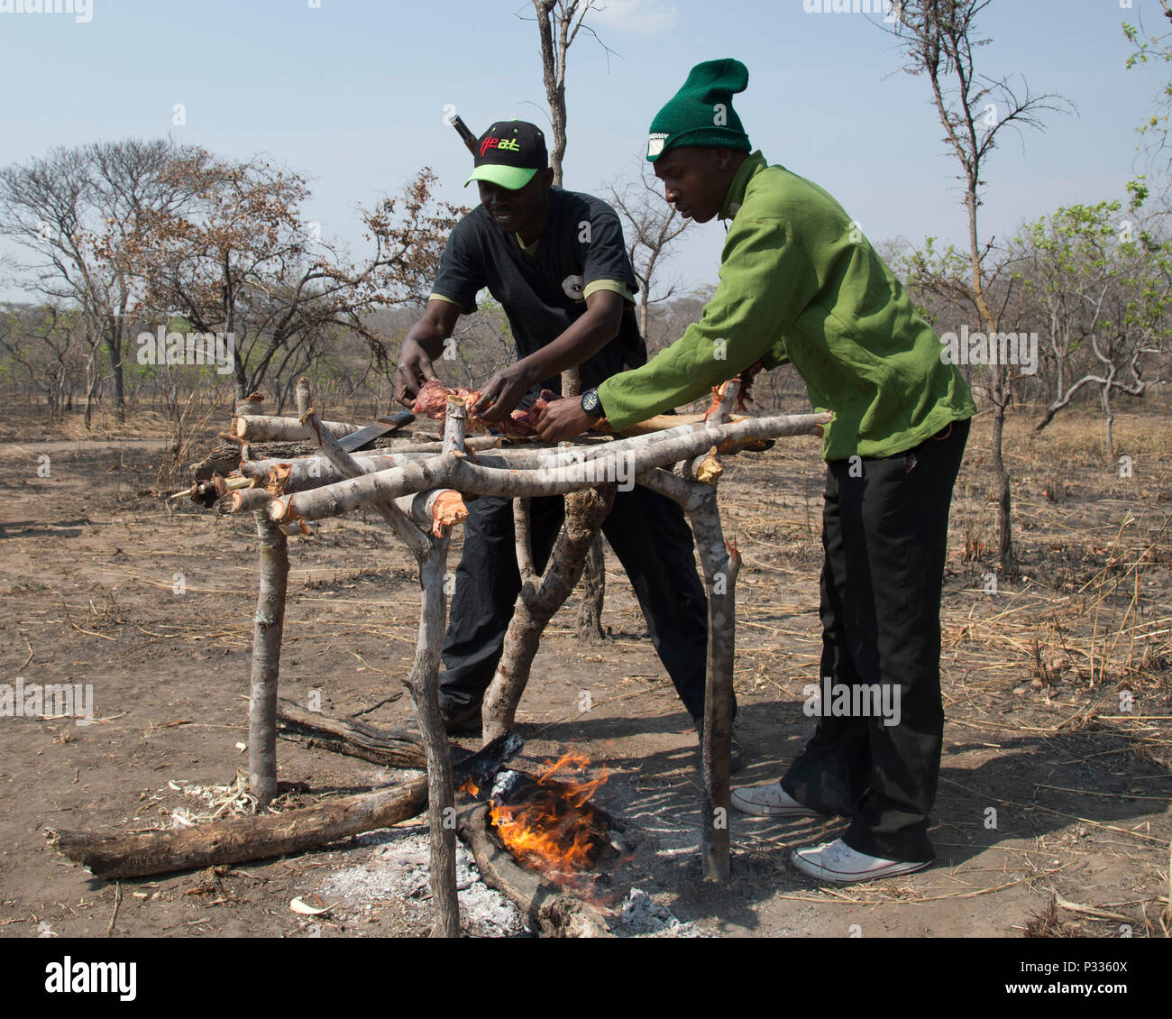 Tanzania park and game reserve rangers, acting as poachers, cook meat from a game reserve animal as part of demonstration August 24, 2016, at Rungwa Game Reserve, Tanzania. The scenario was based around rangers locating a camp of poachers who illegally killed an elephant to harvest its ivory. Rangers recently trained with members of the 403rd Civil Affairs Battalion, a component of Combined Joint Task Force - Horn of Africa, and North Carolina Army National Guard to learn techniques to track and capture poachers. (U.S. Air Force photo by Staff Sgt. Eric Summers Jr.) - Stock Image