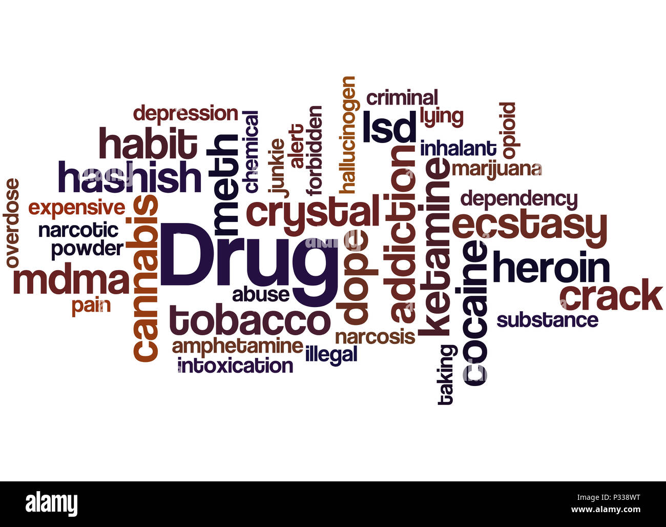 Drug names, word cloud concept on white background Stock