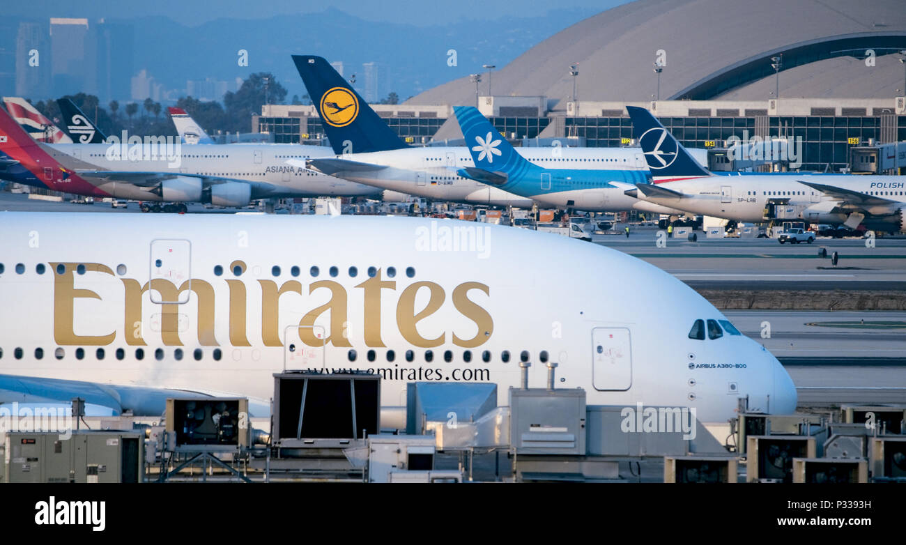 Emirates A380 Super Jumbo Jet at LAX - Stock Image