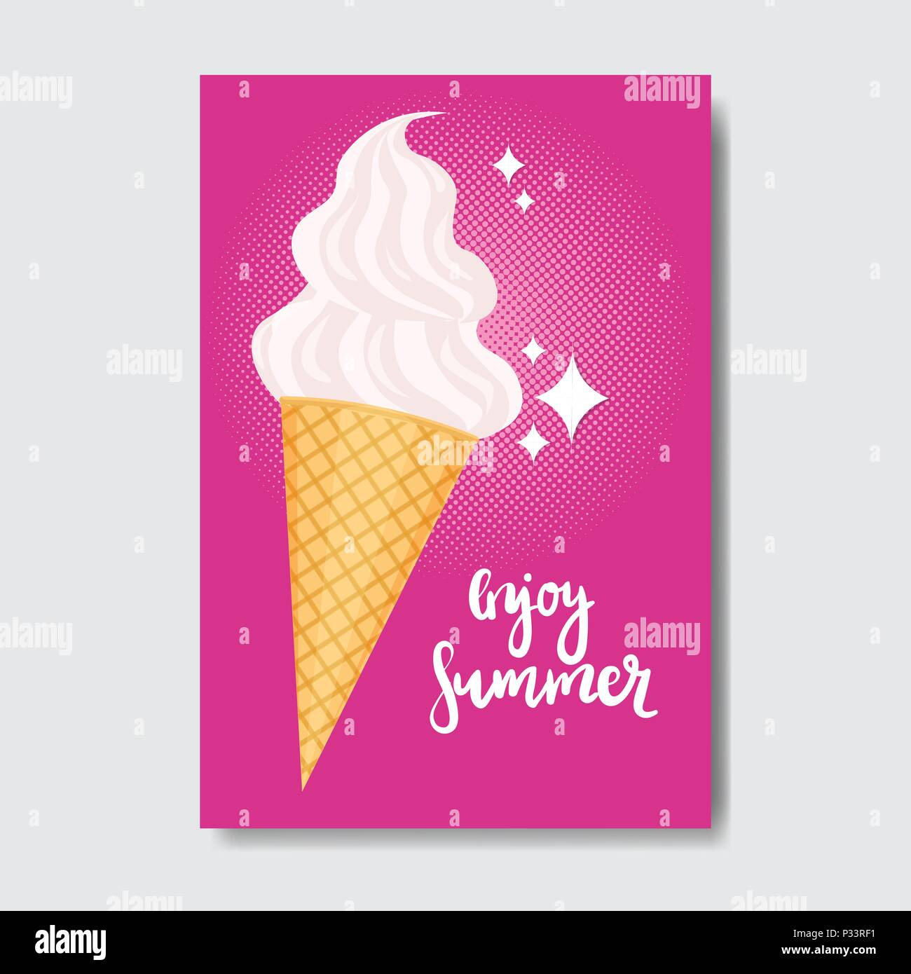 enjoy summer ice cream badge Isolated Typographic Design Label ...