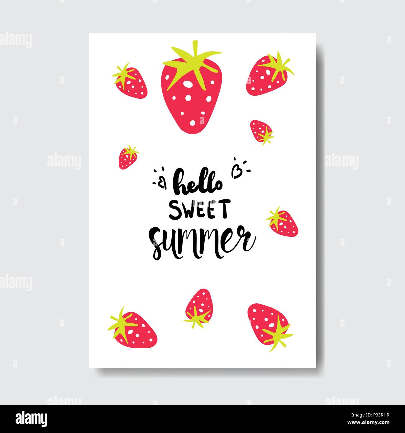 sweet summer strawberry badge isolated typographic design label