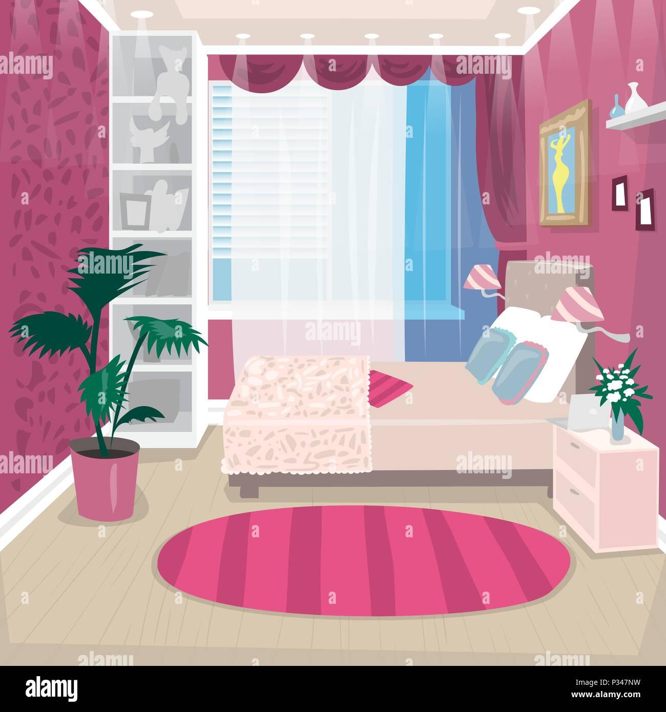 Empty pink children room for girl - Stock Vector