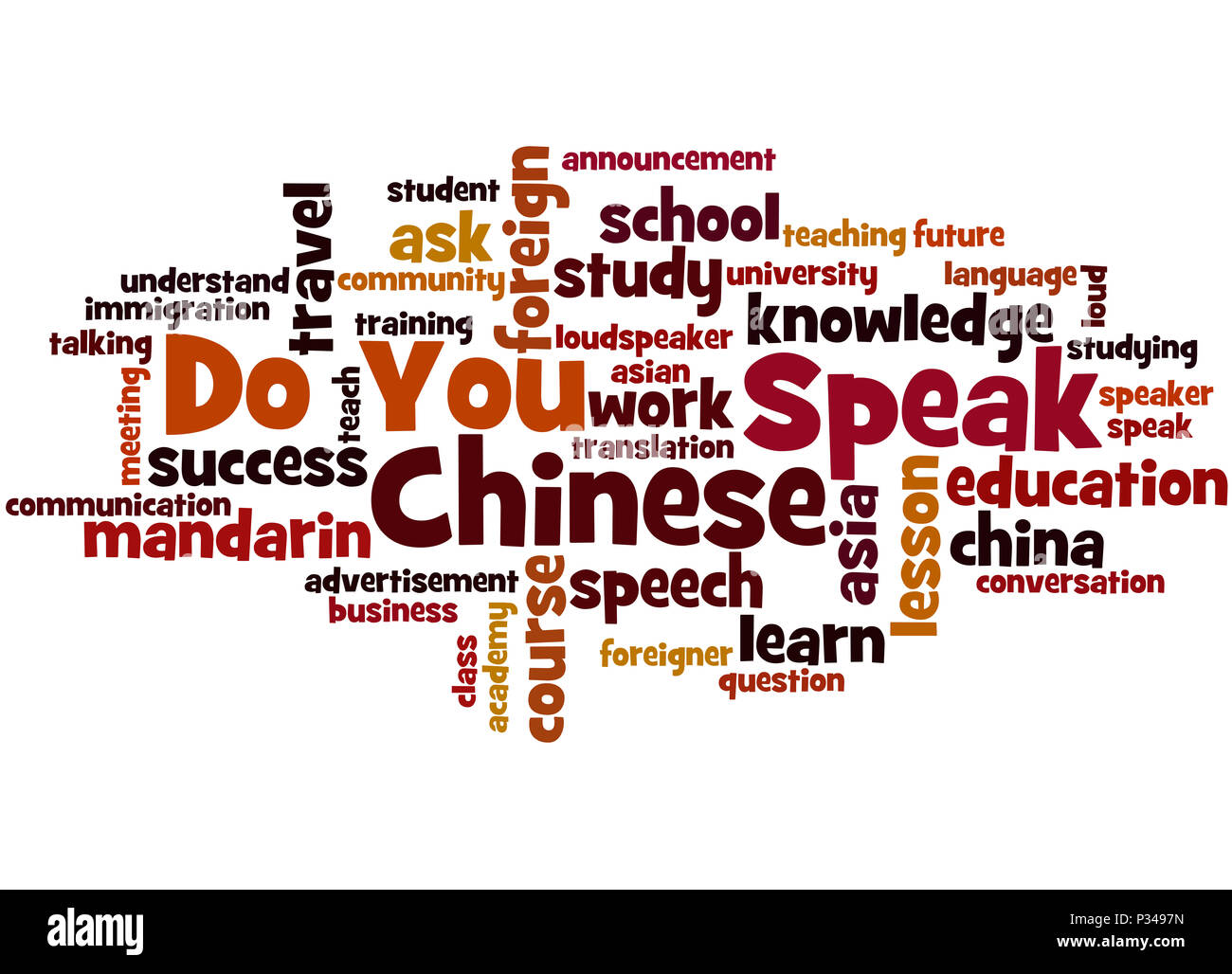 Do You Speak Chinese, word cloud concept on white background. - Stock Image