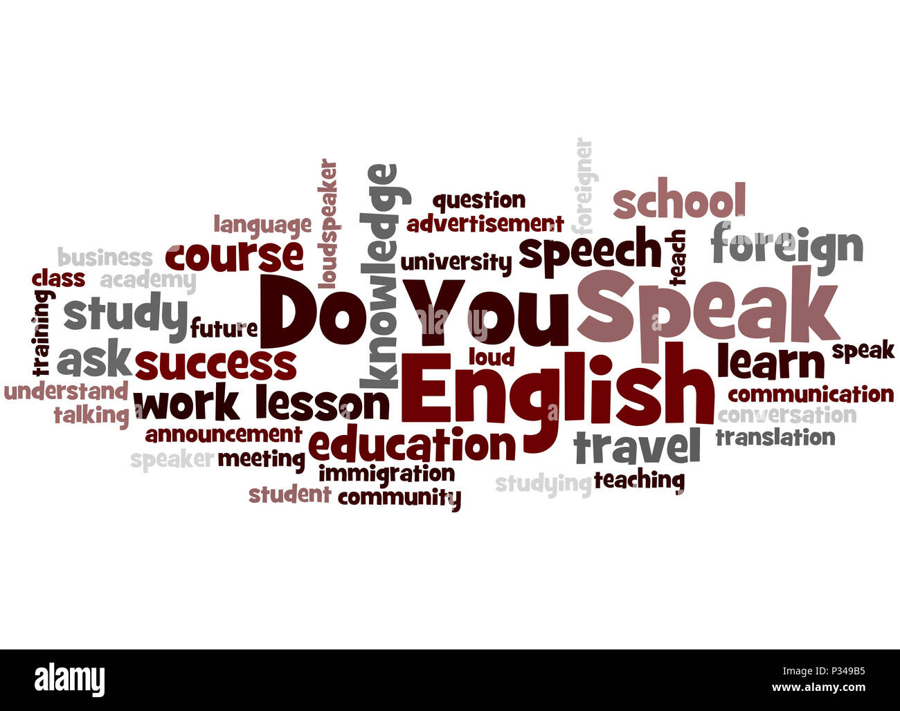 Do You Speak English, word cloud concept on white background. - Stock Image