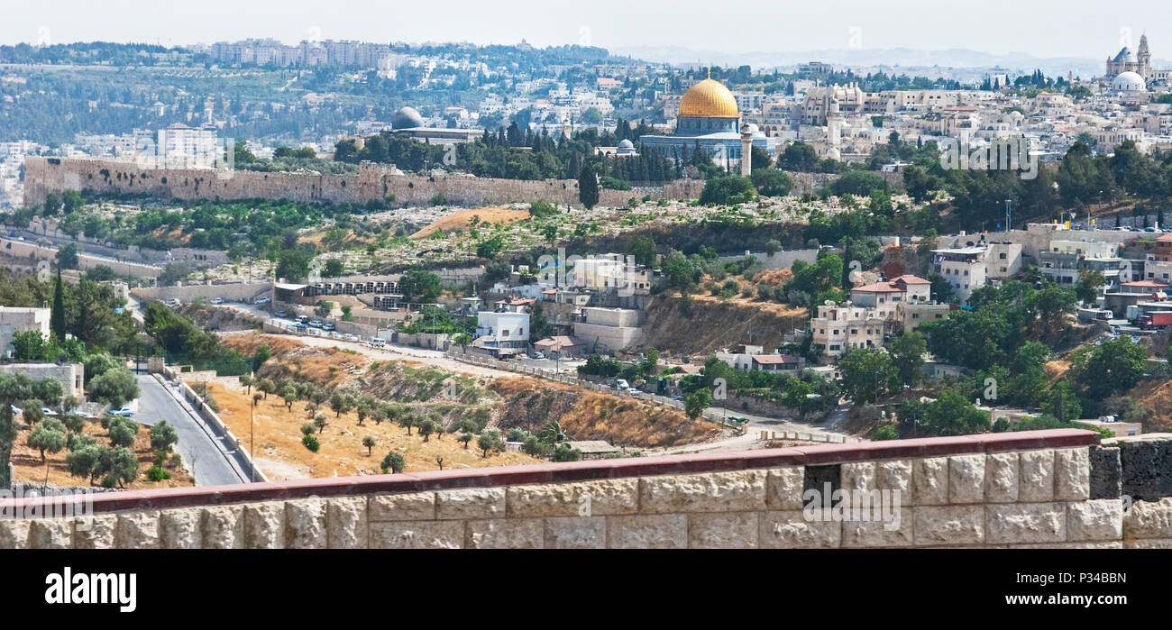 panorama of the Jerusalem temple mount from the east side - Stock Image