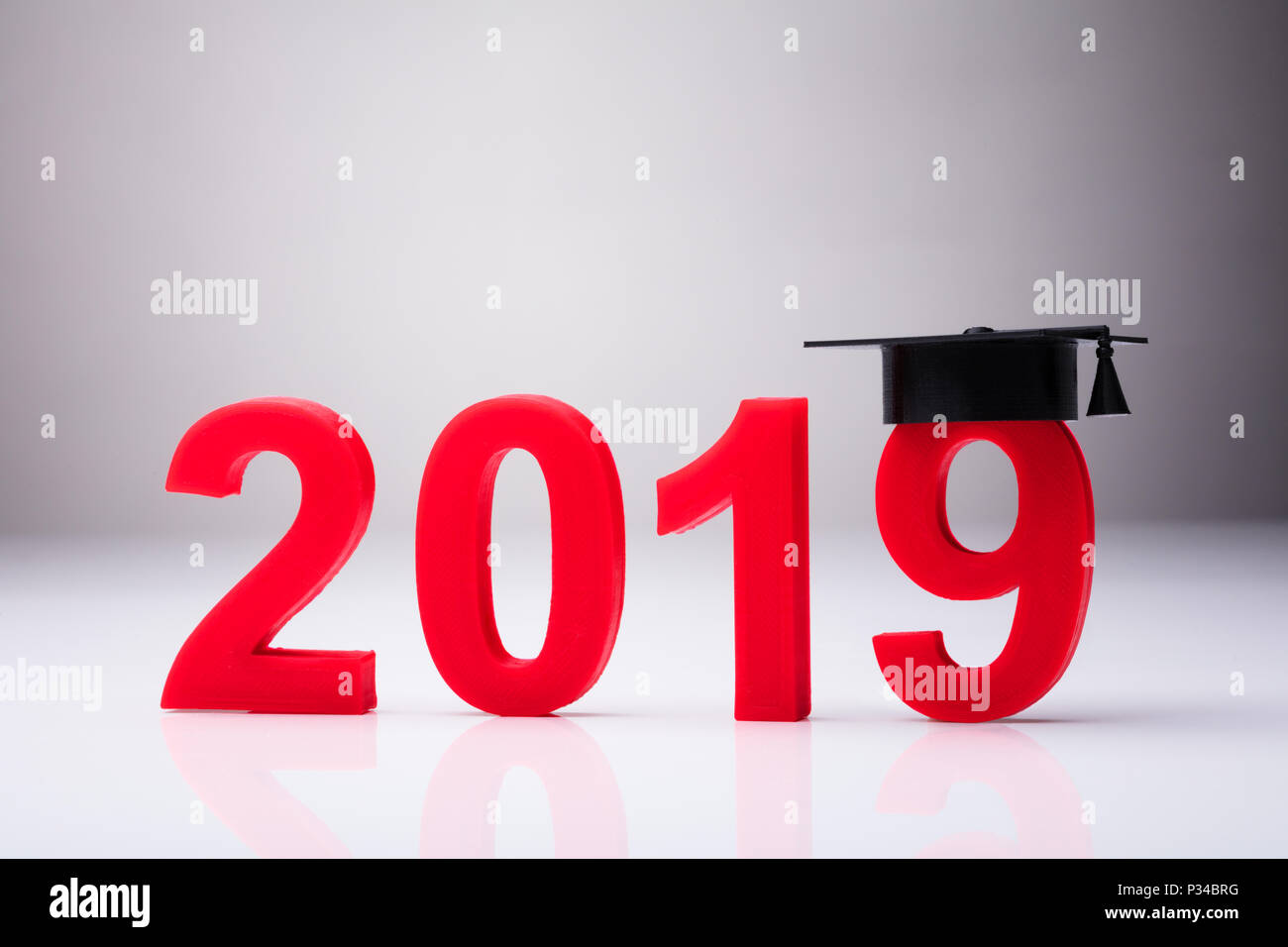 Year 2019 With Graduation Hat On White Background Stock ...