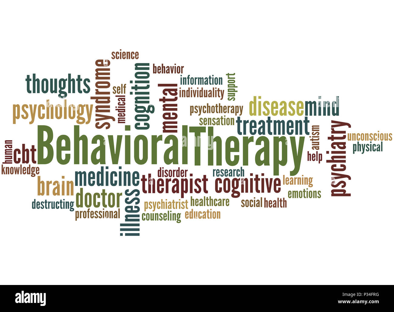 Behavioral Therapy, word cloud concept on white background. - Stock Image