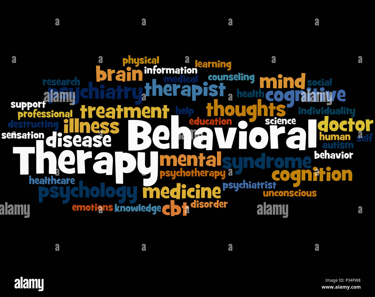 Behavioral Therapy, word cloud concept on black background. - Stock Image