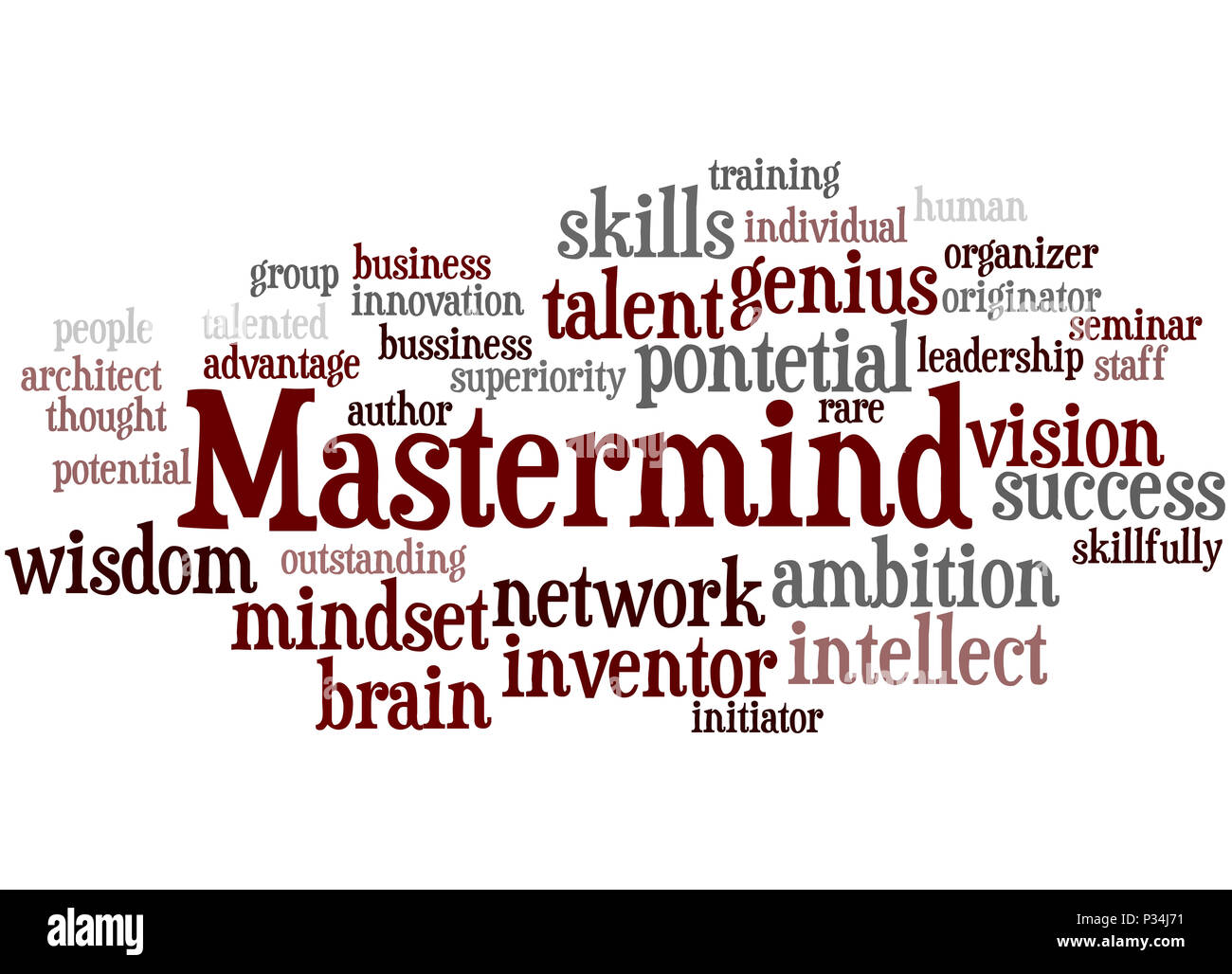 Mastermind, word cloud concept on white background. - Stock Image