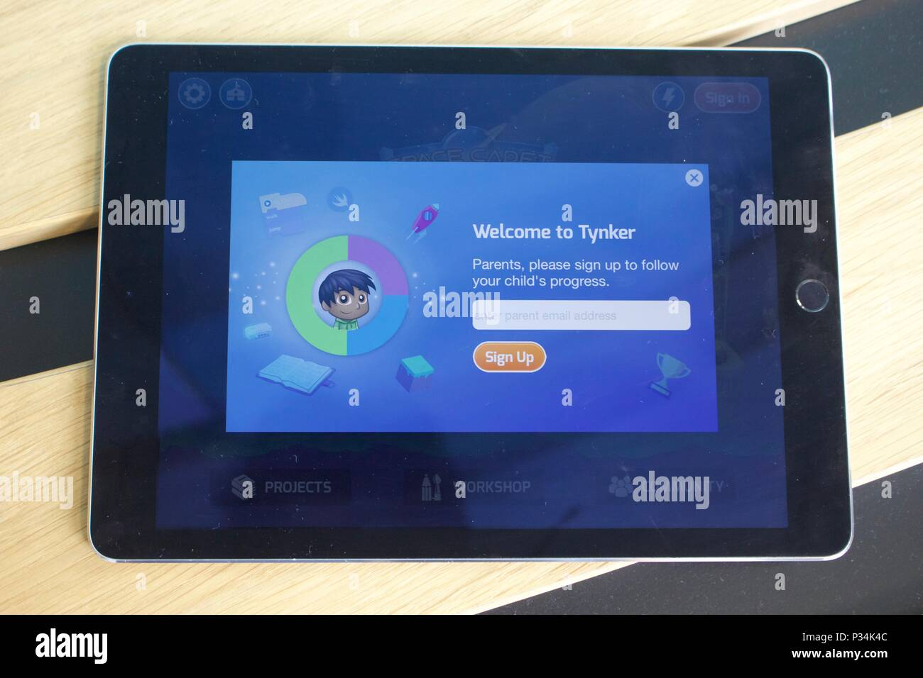 Tynker: Coding for Kids app on the 'Welcome to Tynker' email signup screen - Stock Image