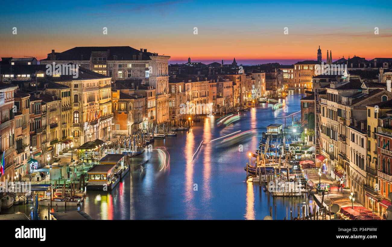 Night skyline of Venice with the Grand Canal, Italy - Stock Image