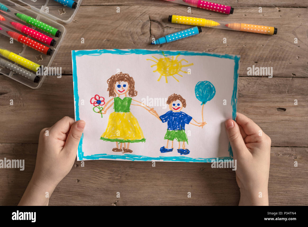 Children's drawing of family single mom and son. Incomplete family concept. - Stock Image