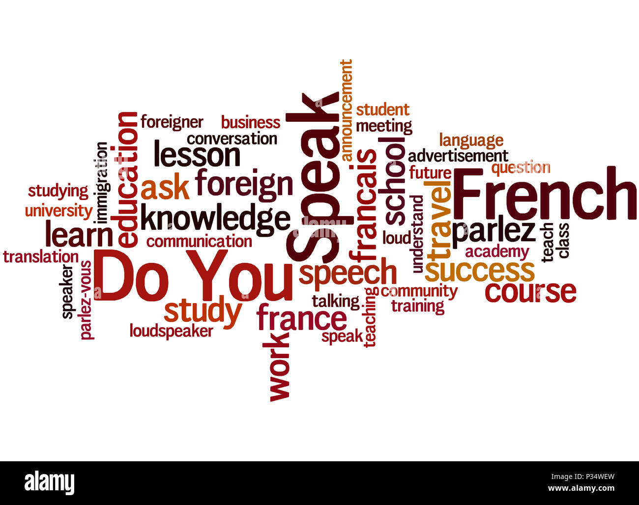 Do You Speak French, word cloud concept on white background. - Stock Image