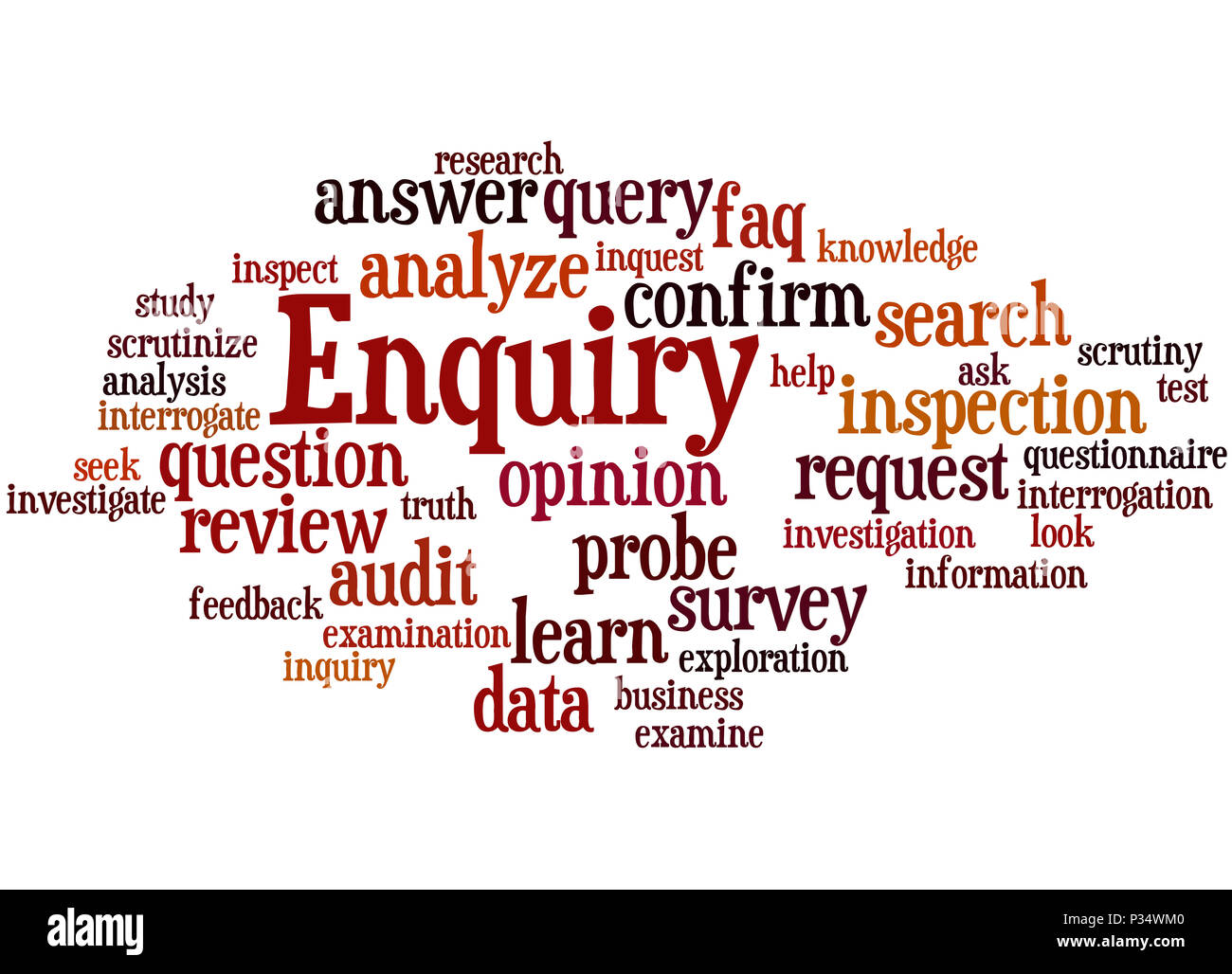 Enquiry, word cloud concept on white background. - Stock Image