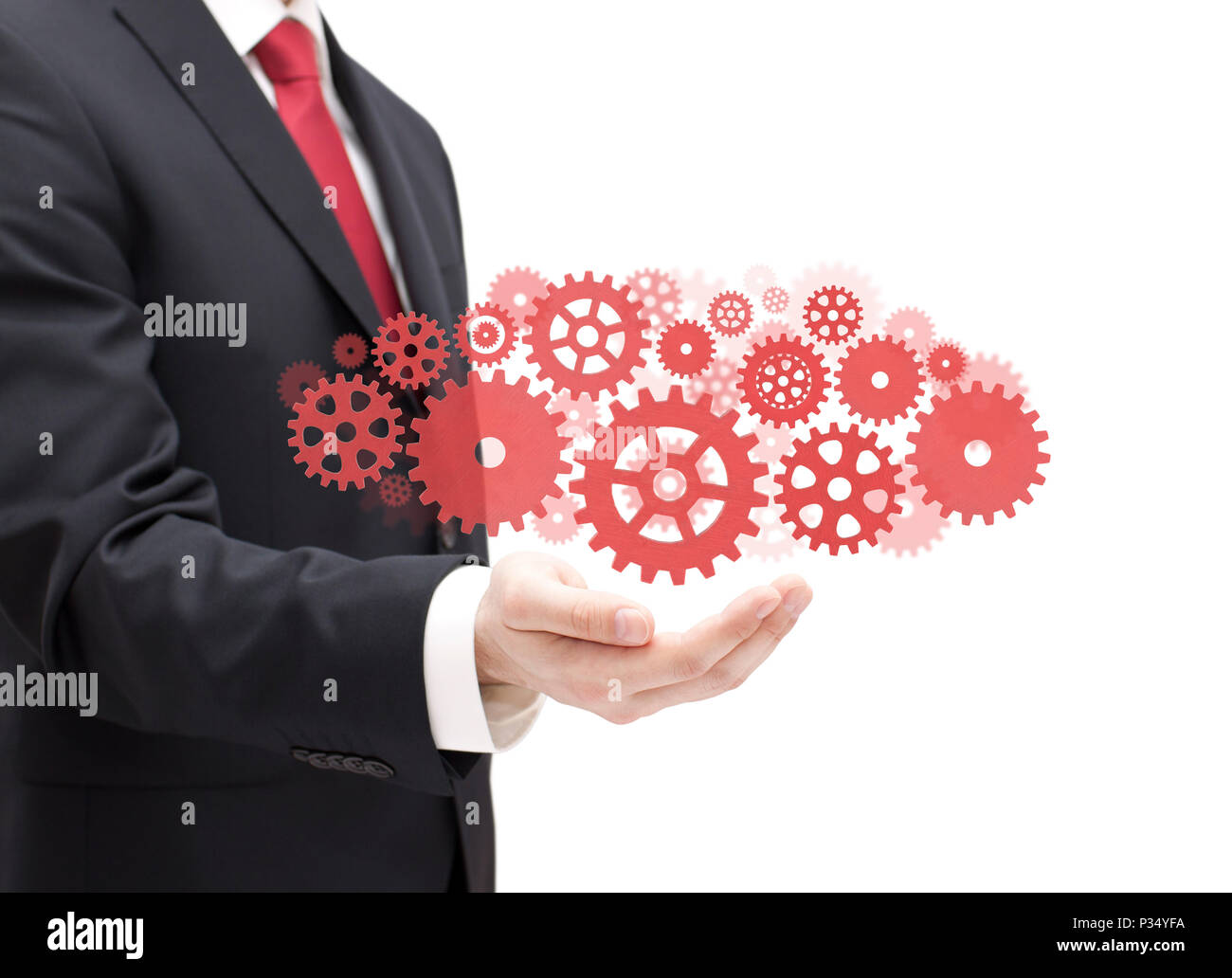 Businessman with gears, concept of well organized work process - Stock Image