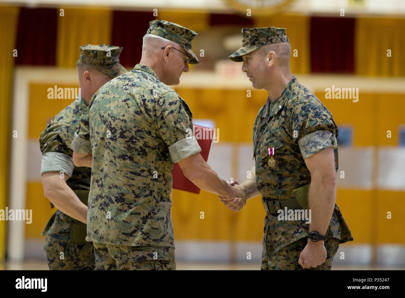 U.S. Marine Corps Col. Christian Cabaniss, center, the assistant commander of 2nd Marine Division, II Marine Expeditionary Force, shakes hands with Lt. Col. Lance J. Langfeldt, right, outgoing commanding officer of 2nd Tank Battalion, 2nd Marine Division, during a change of command ceremony at Camp Lejeune, N.C., June 15, 2018. During the ceremony, Langfeldt relinquished command of the unit to Lt. Col. Charles D. Nicol. (U.S. Marine Corps photo by Cpl. Melanye Martinez) - Stock Image