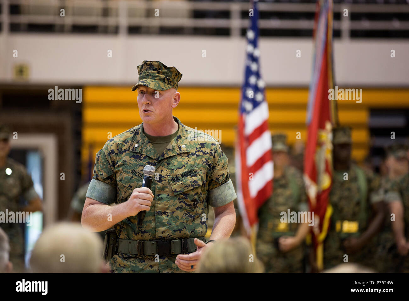 U.S. Marine Corps Lt. Col. Charles D. Nicol, incoming commanding officer of 2nd Tank Battalion, 2nd Marine Division, offers remarks during a change of command ceremony at Camp Lejeune, N.C., June 15, 2018. During the ceremony, Lt. Col. Lance J. Langfeldt relinquished command of the unit to Nicol. (U.S. Marine Corps photo by Cpl. Melanye Martinez) - Stock Image