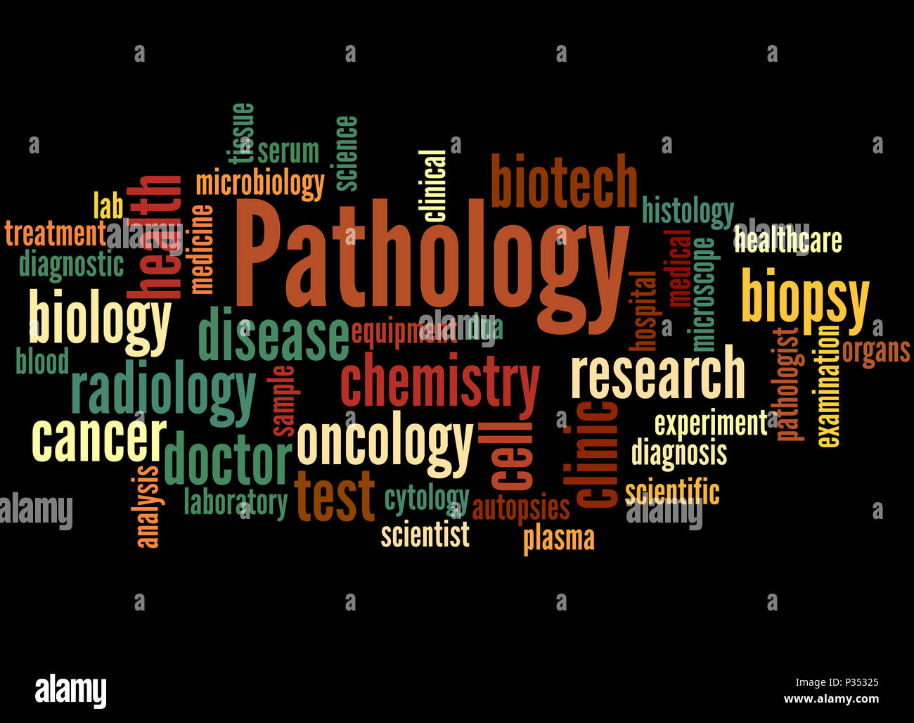 Pathology, word cloud concept on black background. Stock Photo