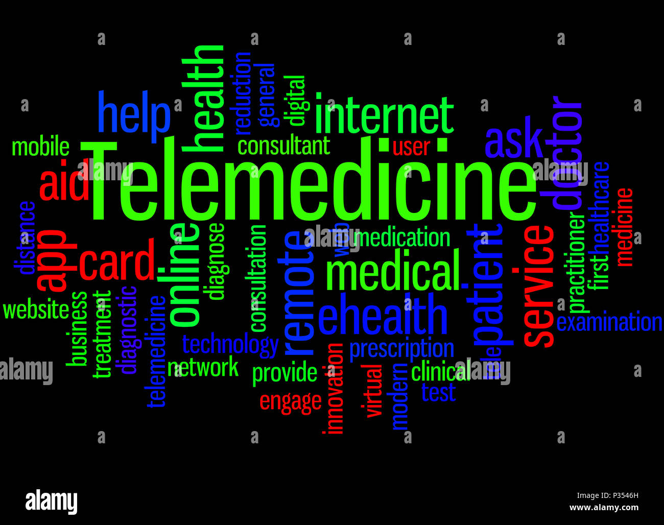 Telemedicine, word cloud concept on black background. - Stock Image