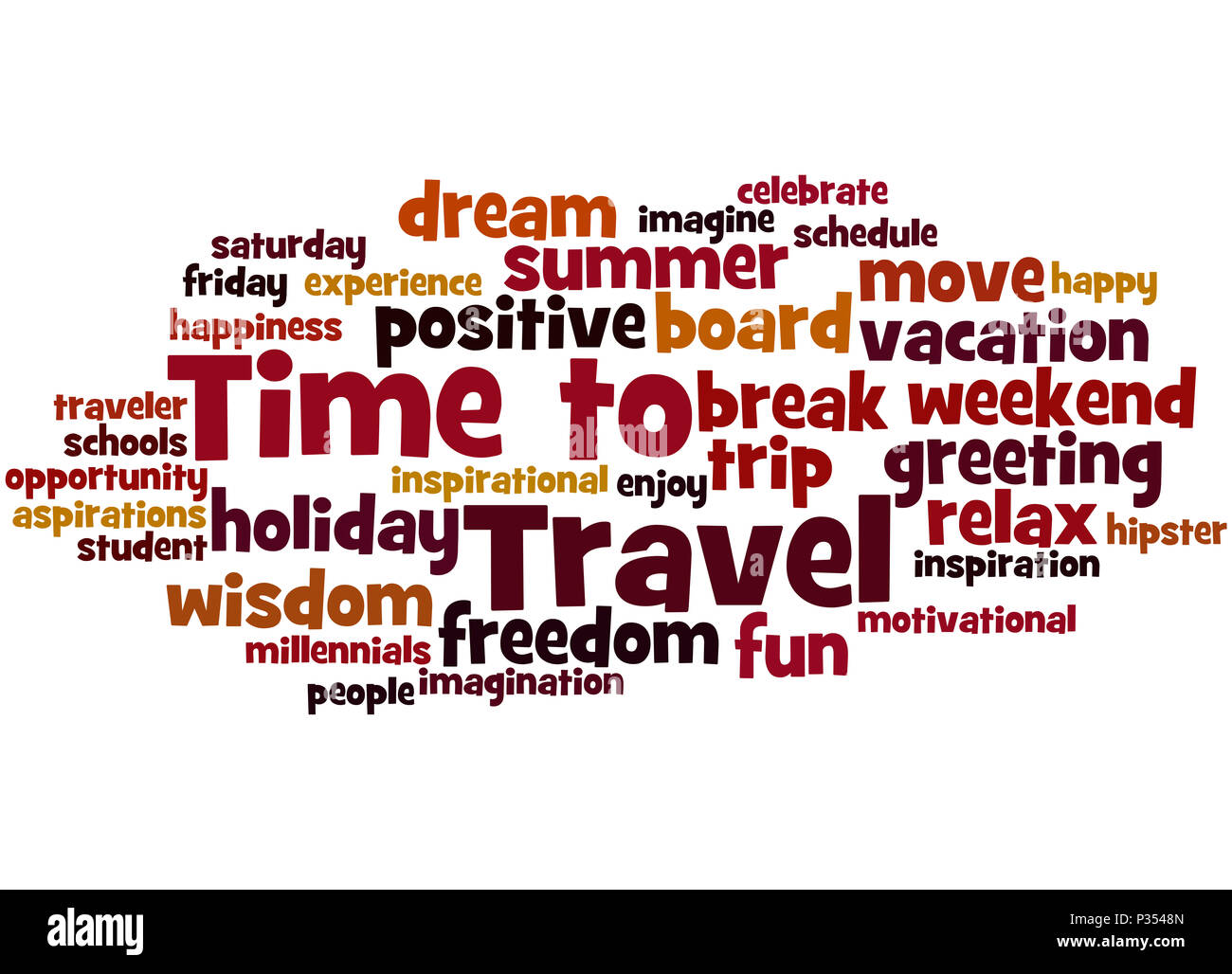 time to travel word cloud concept on white background stock photo
