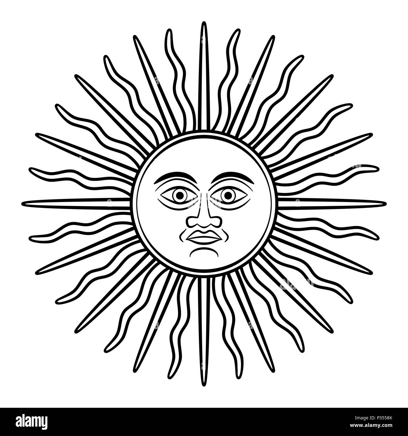 Sun Of May Sol De Mayo Symbol Appearing On Early Argentine