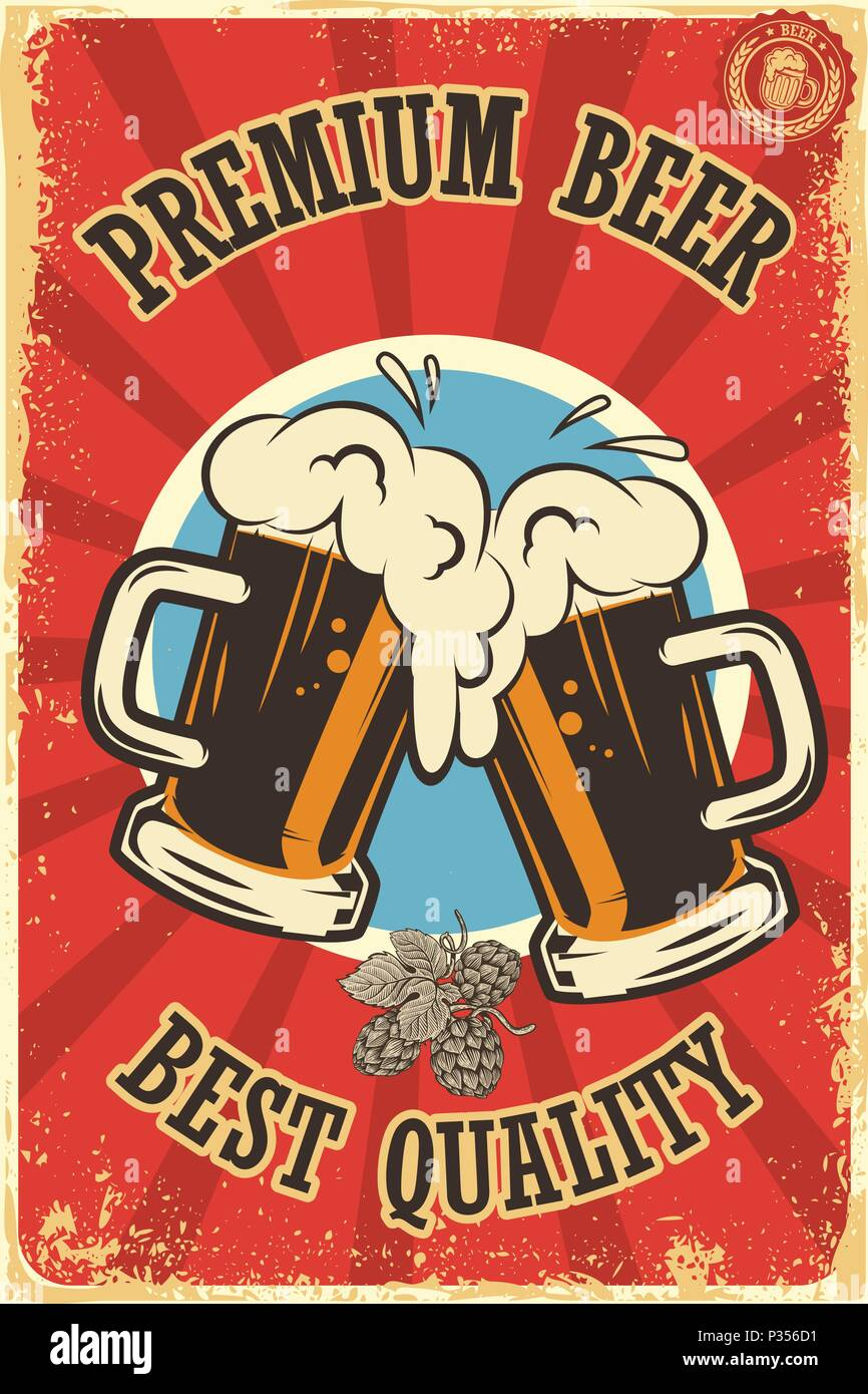 Beer Poster In Retro Style Objects On Grunge Background Design Element For Card Flyer Banner Print Menu Vector Illustration